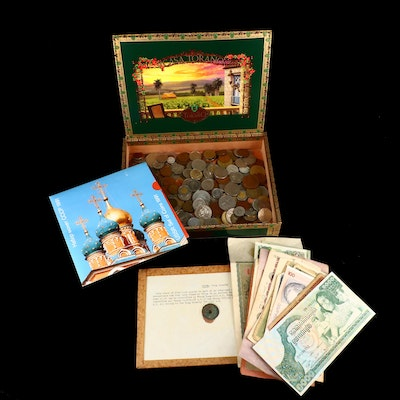 Foreign Coins and Currency With Over 275 Foreign Coins and 19 Currency Notes