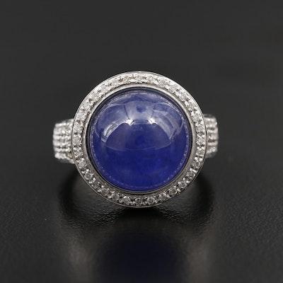 18K White Gold 13.13 CT Tanzanite and Diamond Ring