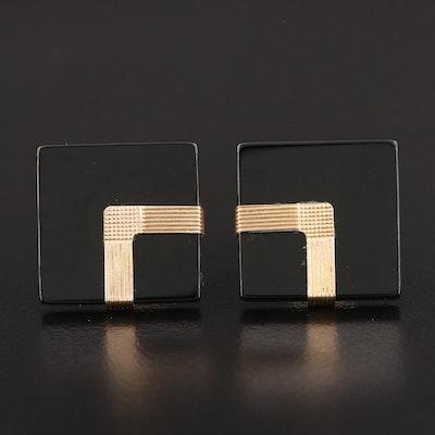 14K Yellow Gold Black Onyx Button Earrings