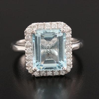 18K White Gold 3.68 CT Aquamarine and Diamond Ring