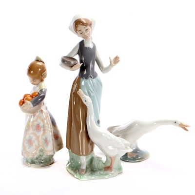 "Lladró ""Girl and Duck"" Porcelain Figurine with ""Small Girl with Basket and Duck"""