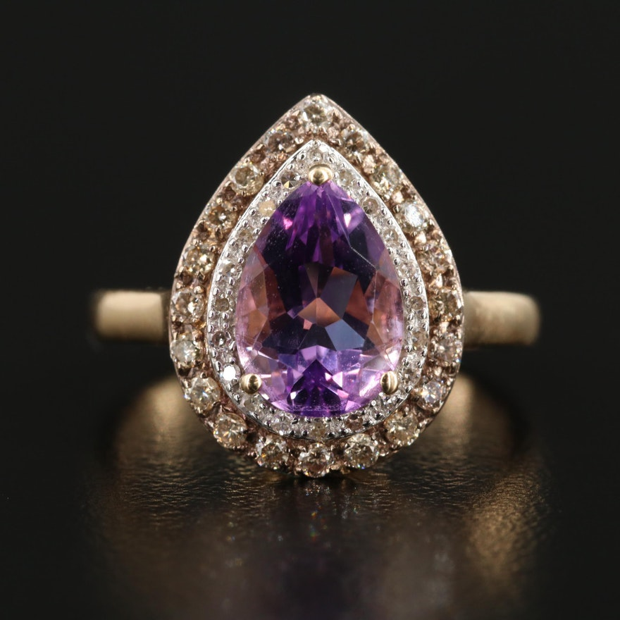 14K Yellow Gold Amethyst and Diamond Double Halo Ring
