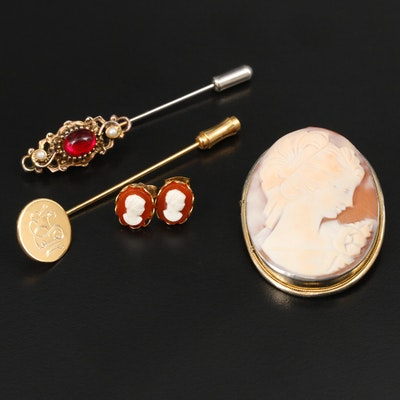 Assorted Jewelry including Vintage 800 Silver Cameo Converter Brooch