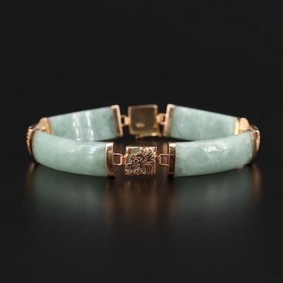 14K Yellow Gold Jadeite Dragon Motif Bracelet