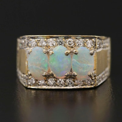 Vintage 18K Yellow Gold Opal and Diamond Ring
