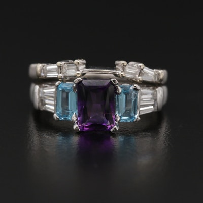 14K White Gold Amethyst, Blue Topaz and Diamond Rings
