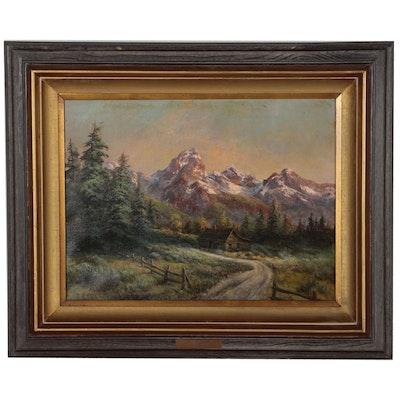 "Lee Parkinson Oil Painting ""Evening Shadows"", 1982"