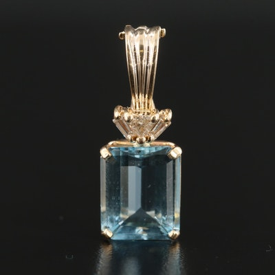 14K Yellow Gold Aquamarine and Diamond Enhancer Pendant