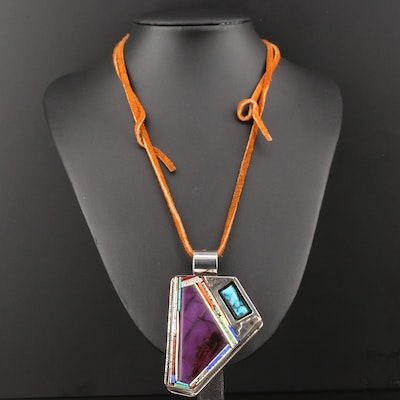 Sterling Silver Sugilite, Turquoise and Gemstone on Leather Cord Necklace