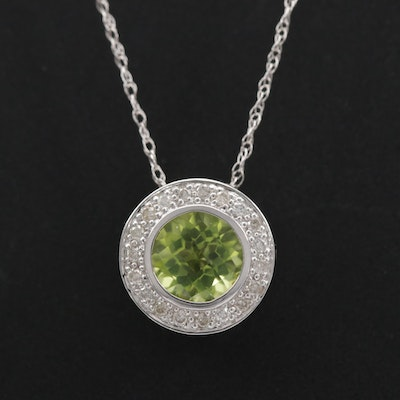 14K White Gold Peridot and Diamond Pendant on Singapore Chain Necklace