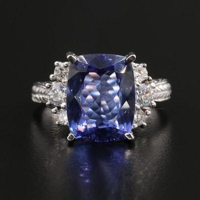 18K White Gold 4.85 CT Tanzanite and Diamond Ring