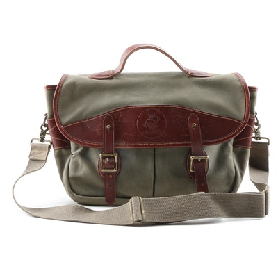 Life Member Green Canvas and Chestnut Brown Leather Messenger Bag