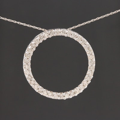 10K White Gold 1.00 CTW Diamond Eternity Circle Pendant Necklace