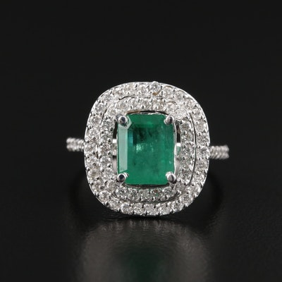 18K White Gold 1.75 CT Emerald and Diamond Ring