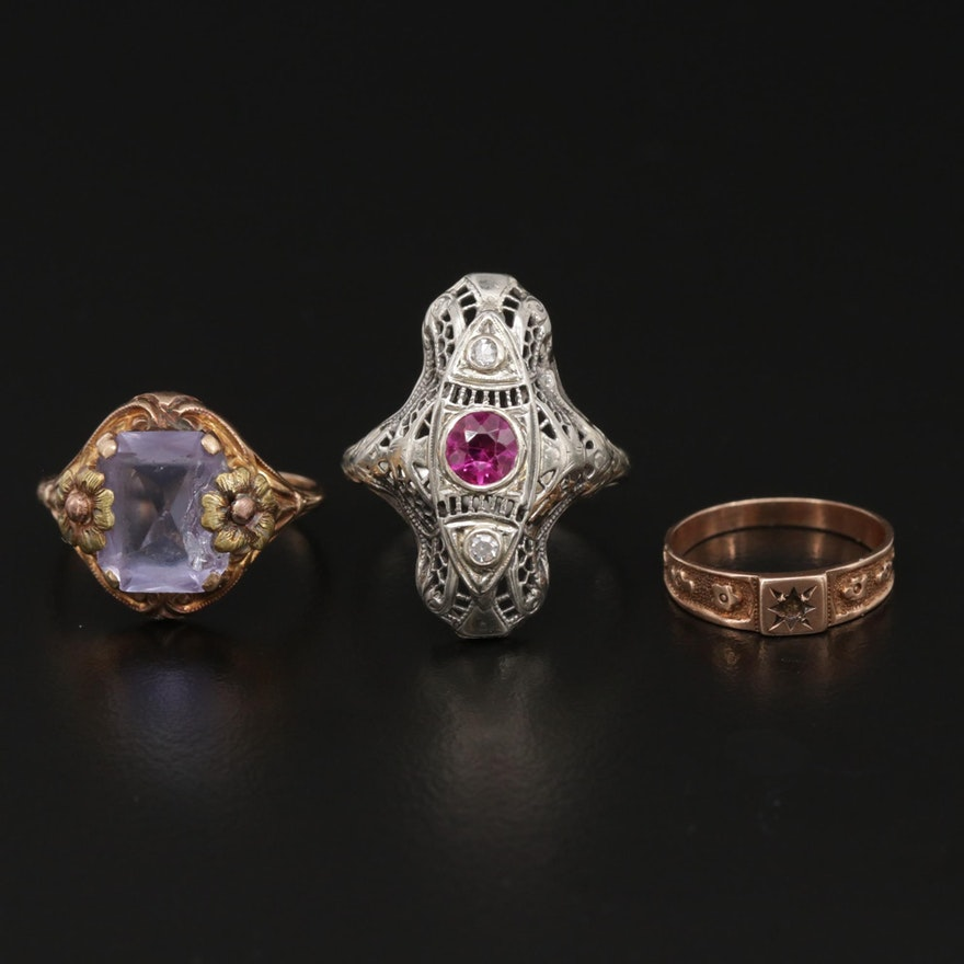 Vintage 10K and 14K Rings Including Ruby and Diamond