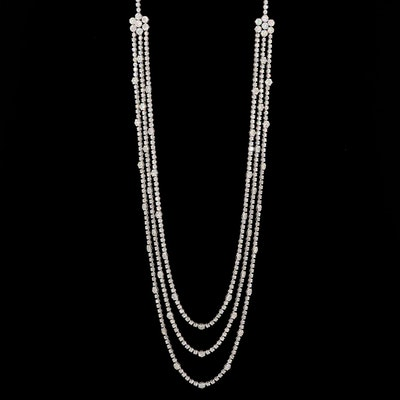 14K White Gold 39.08 CTW Diamond Multi Chain Necklace