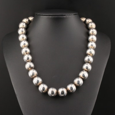 Mexican Sterling Silver Bead Necklace