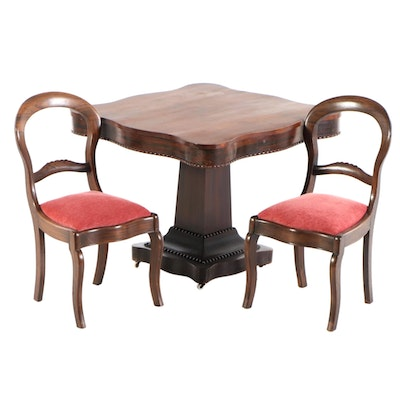 Robert E Lee Family Victorian Center Table and Rosewood Grained Chairs