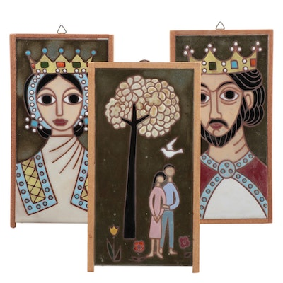 Helen Michaelides King and Queen Portraits and Couple Tiles, 1960s