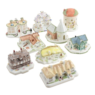 "Coalport Bone China Houses Including ""Hunting Lodge"", Late 20th Century"