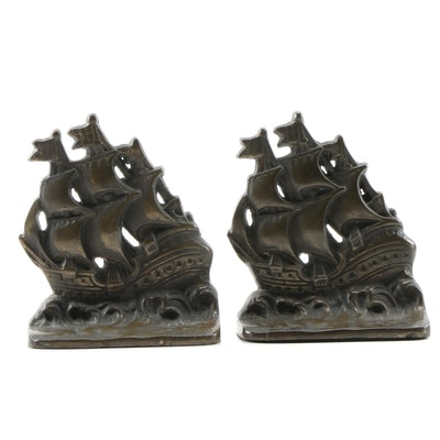 Cast Iron Ship Bookends with Bronze Finish