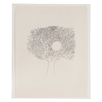 Jean-Michel Folon Lithograph of Tree