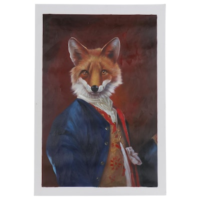 Anthropomorphic Fox Mixed Media Painting after Franck Le Gall