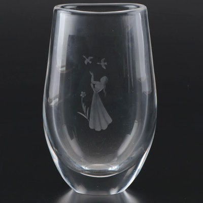 Orrefors Etched Art Glass Vase, Mid-Late 20th Century