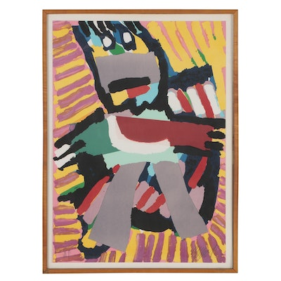 "Karel Appel Color Lithograph ""Blue Boy"""
