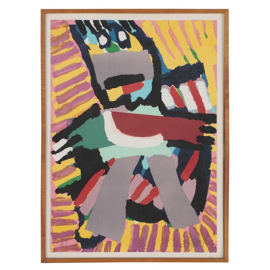 """Karel Appel Color Lithograph """"Blue Boy"""""""