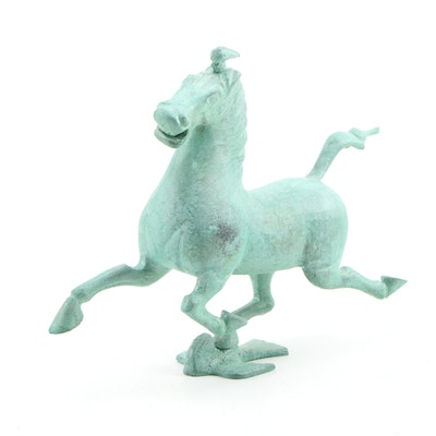 "Chinese ""Flying Horse of Gansu"" Patinated Metal Replica, Late 20th Century"