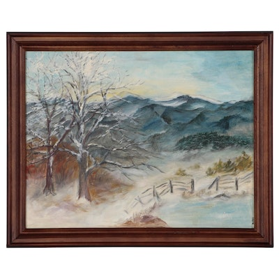 Oil Painting of Winter Landscape, Late 20th Century