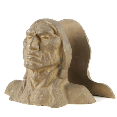 Brass Native American Bust Bookends