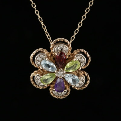 Sterling Silver Diamond and Gemstone Flower Pendant Necklace