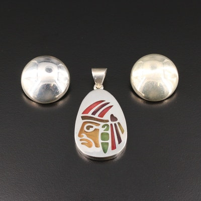 Mexican Sterling Silver Enamel Warrior Pendant and Button Earrings