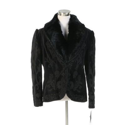Nygård Collection Embroidered Jacket with Detachable Dyed Rabbit Fur Collar
