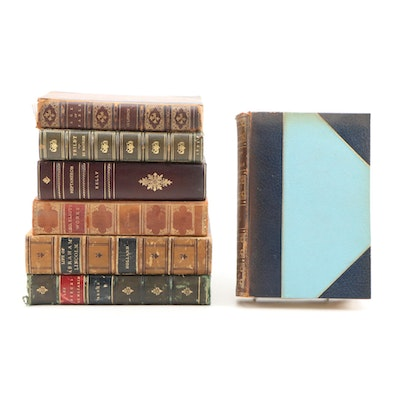 Leather Bound Volumes including Biographies, Fables and Novels