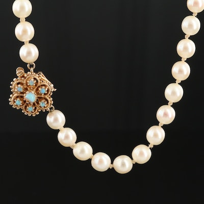 14K Yellow Gold Cultured Pearl and Opal Necklace