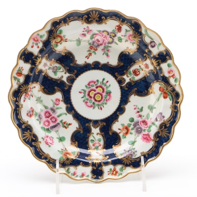 """Worcester Dr Wall Period """"Scale Blue"""" Plate, Circa 1768-76"""