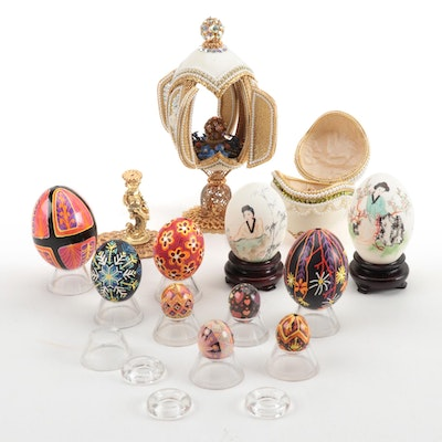 Decorative Hand-Blown and Victorian Style Beaded Eggs, Mid-Late 20th-Century
