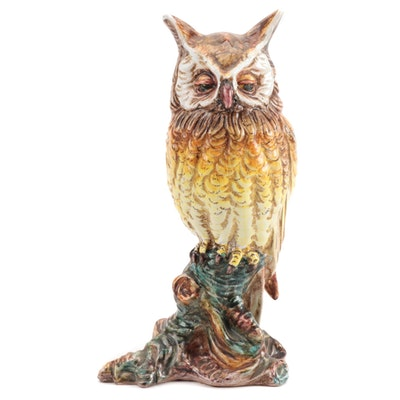 Italian Ceramic Owl Figurine, Mid to Late 20th Century