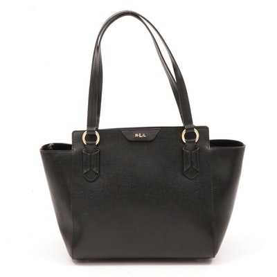 Lauren by Ralph Lauren Textured Black Shoulder Bag