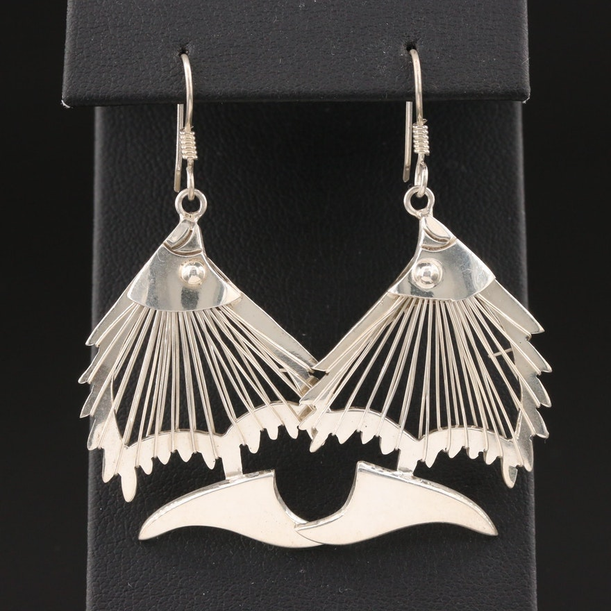 Mexican Sterling Silver Angel Fish Earrings
