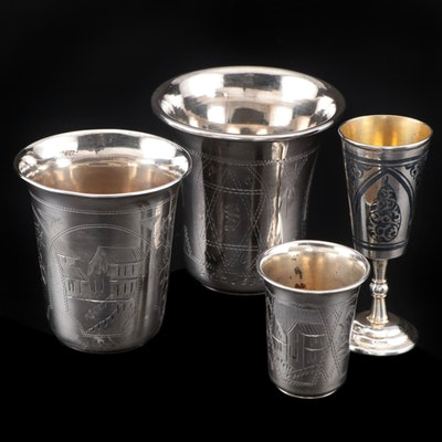 Russian 875 Silver and Sterling Silver Kiddush Cups, Late 19th to Early 20th C.