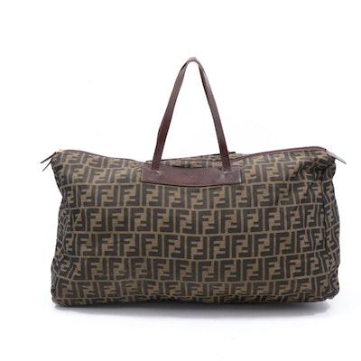 Fendi Zucca Monogram Canvas Weekender Bag Trimmed in Leather