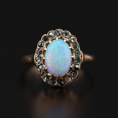 Vintage 10K Yellow Gold Opal and Diamond Ring