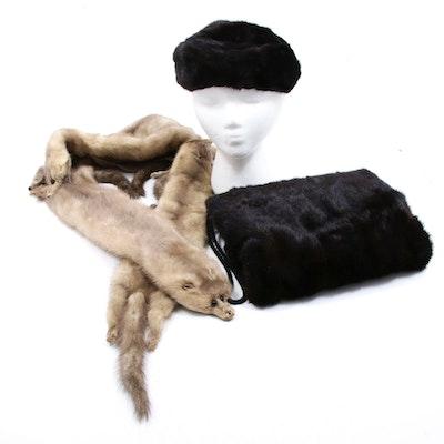 Dark Mahogany Mink Hat and Muff with Gray Mink Full Pelt Stole