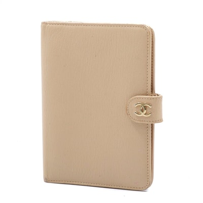 Chanel Beige Leather Address Planner Case with CC Logo