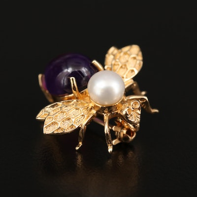 14K Yellow Gold Cultured Pearl and Amethyst Bee Converter Brooch