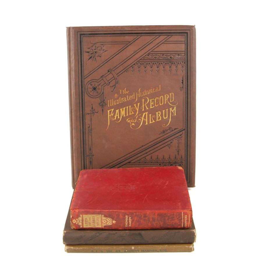 """1883 """"The Hoosier School-Boys"""", 1883 Blank Family Record Album, and Other Books"""